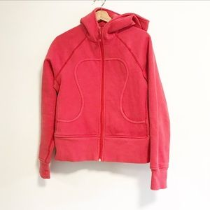 Lululemon size 8. Red with a hint of coral scuba